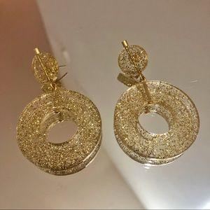 Madewell Circle Statement Earrings Gold Glitter